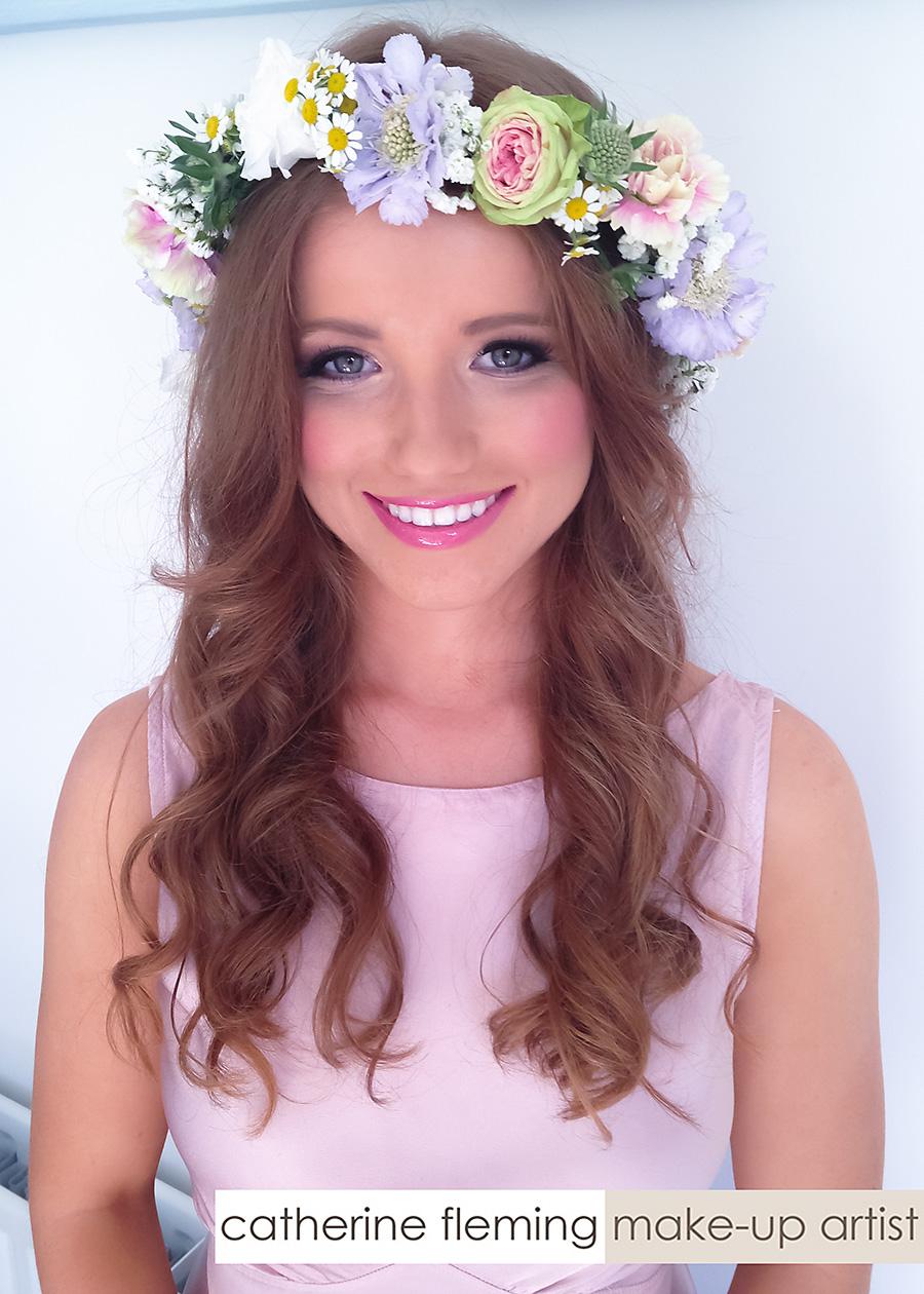 bridesmaid makeup pink dress